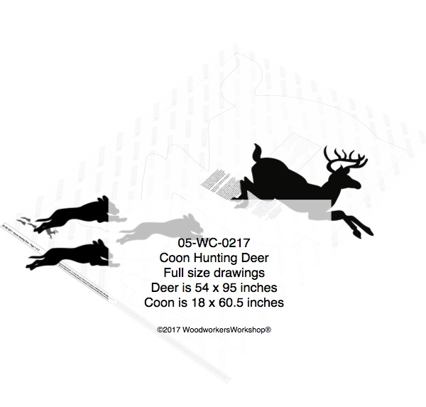 Coons Hunting Deer Yard Art Woodworking Pattern woodworking plan