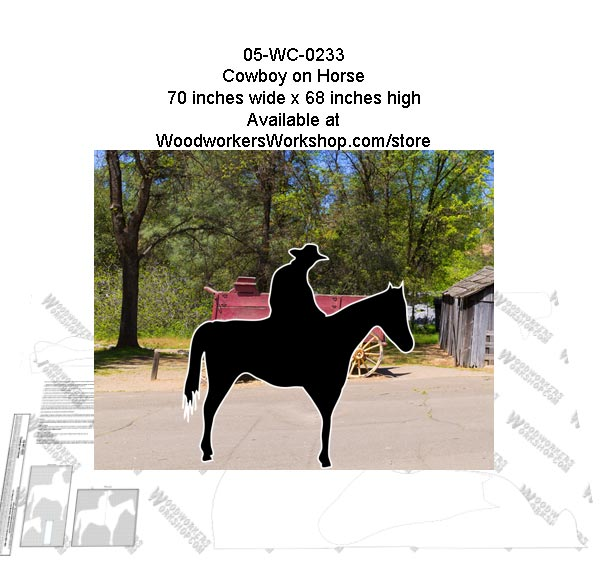 05-WC-0233 - Cowboy on Horse Silhouette Yard Art Woodworking Pattern