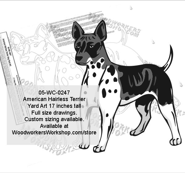 American Hairless Terrier Dog Yard Art Woodworking Pattern