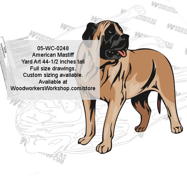 American Mastiff Dog Yard Art Woodworking Pattern