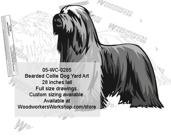Bearded Collie Dog Yard Art Woodworking Pattern