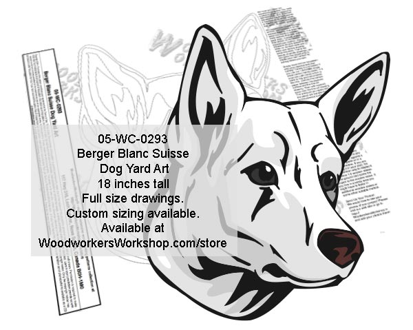 Berger Blanc Suisse Dog Yard Art Woodworking Pattern