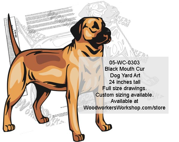 Black Mouth Cur Dog Yard Art Woodworking Pattern