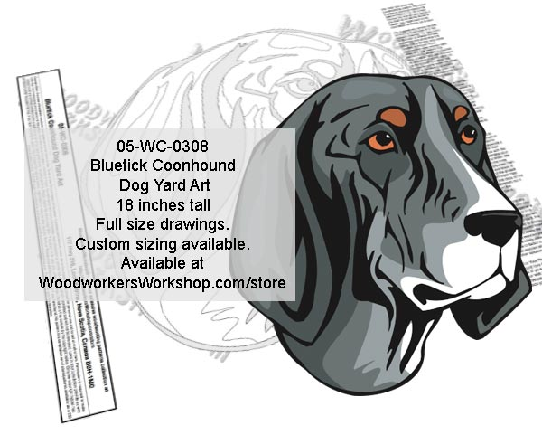 Bluetick Coonhound Dog Yard Art Woodworking Pattern