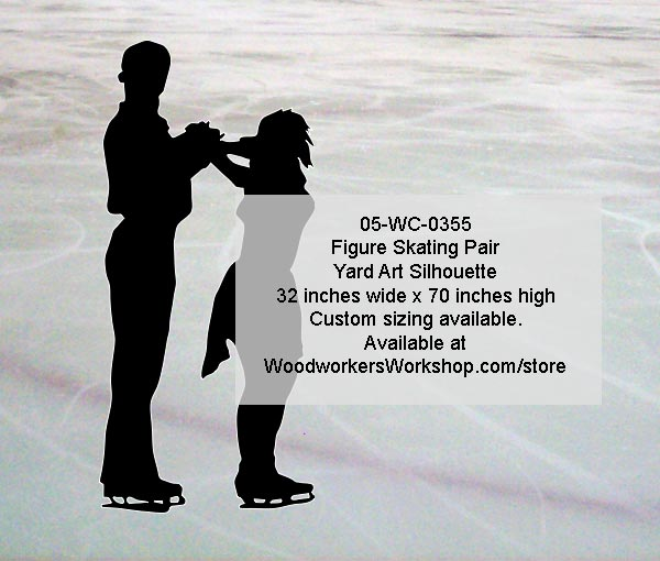 Figure Skating Pair Silhouette Yard Art Woodworking Pattern