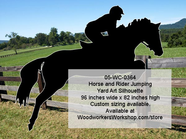 Horse and Rider Jumping Silhouette Yard Art Woodworking Pattern