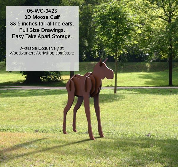 3d Moose Calf Yard Art Woodworking Pattern Woodworkersworkshop