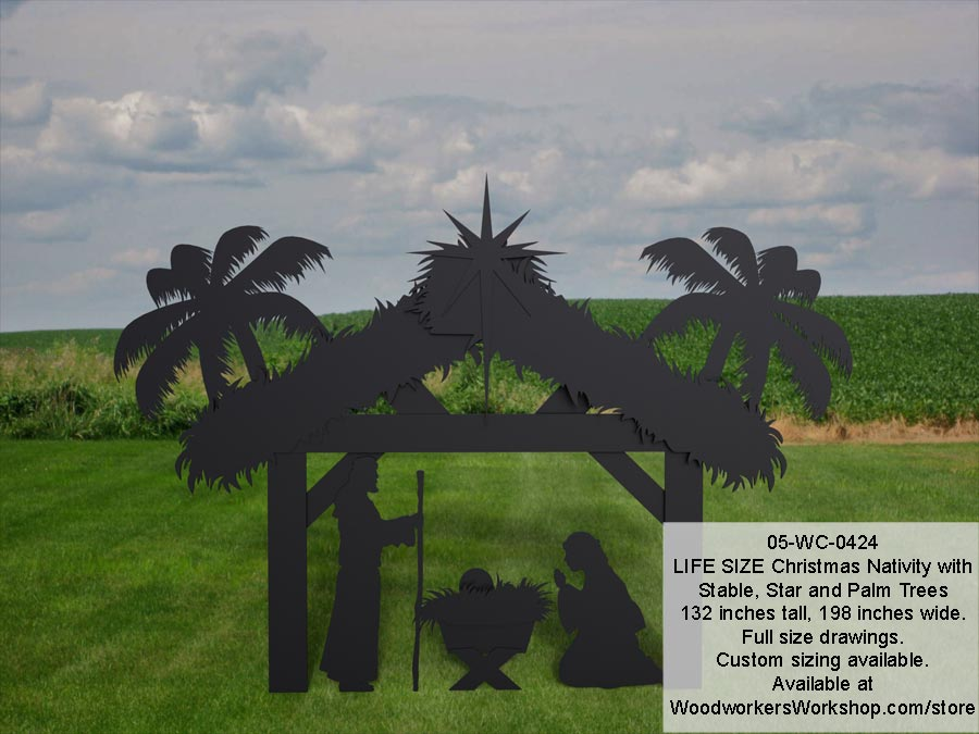 Nativity Life Size Silhouettes Yard Art Woodworking Pattern.
