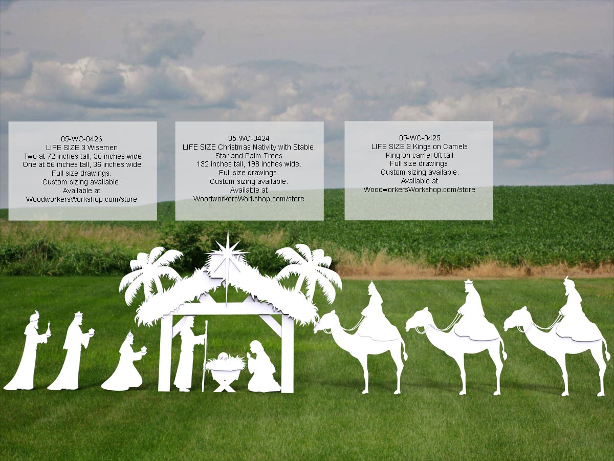 05-WC-0424 - Nativity Life Size Silhouettes Yard Art Woodworking Pattern.
