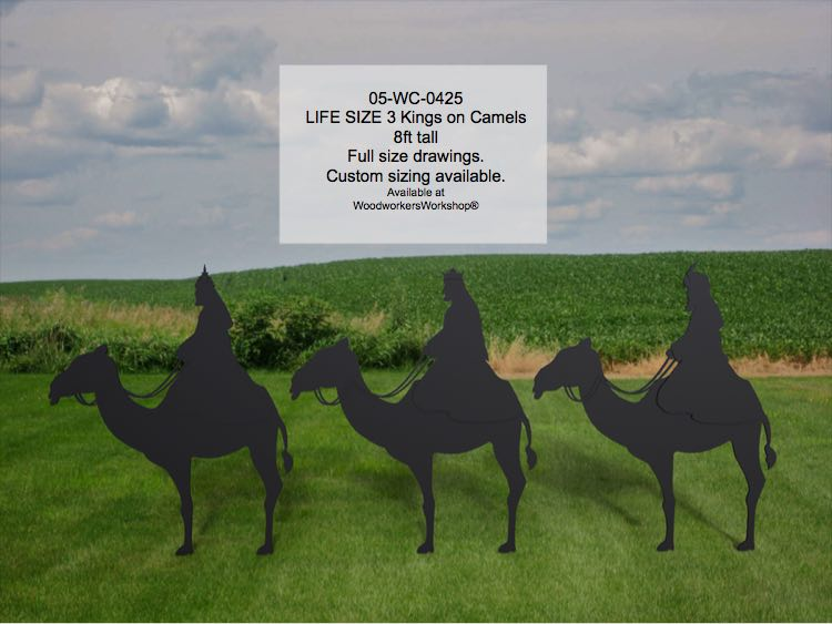 3 Kings on Camels Life Size Silhouettes Yard Art Woodworking Pattern.