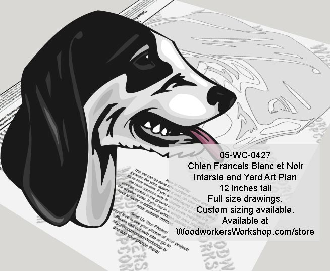 Francais Blanch et Noir Hound Dog Woodworking Pattern