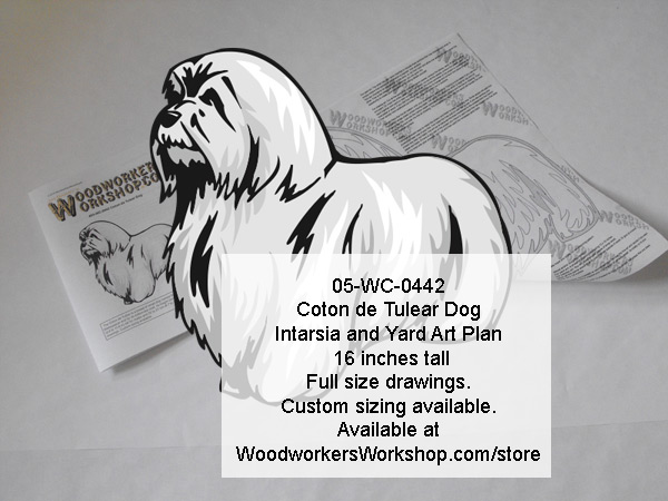 Coton du Tulear Dog Intarsia or Yard Art Woodworking Pattern