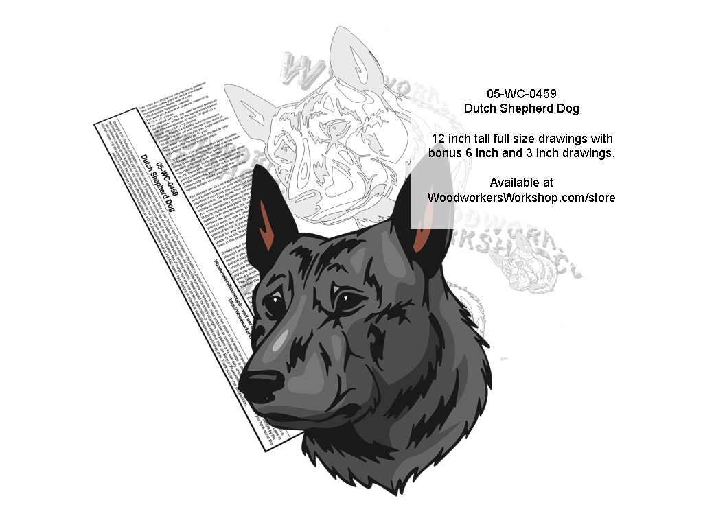 Dutch Shepherd Dog Scrollsaw Intarsia or Yard Art Woodworking Pattern