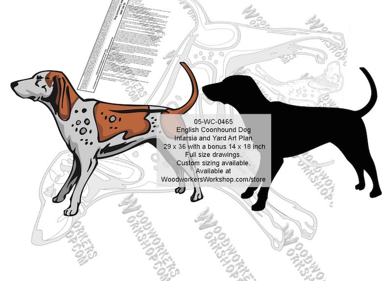 English Coonhound Dog Intarsia or Yard Art Woodworking Pattern