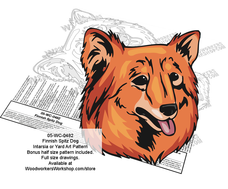 Finnish Spitz Dog Intarsia or Yard Art Woodworking Pattern