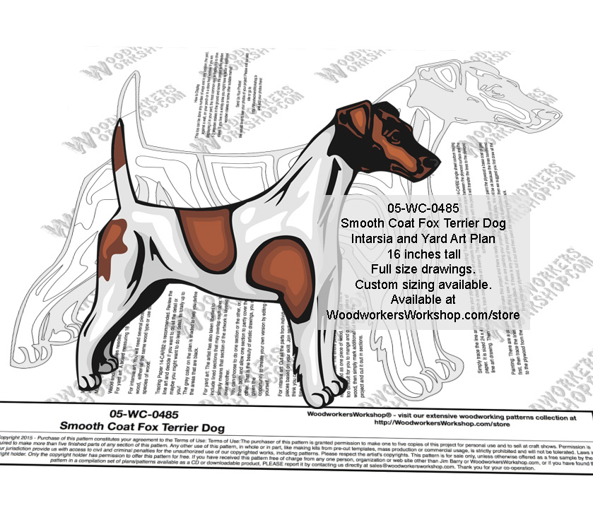 Smooth Coat Fox Terrier Dog Intarsia or Yard Art Woodworking Pattern