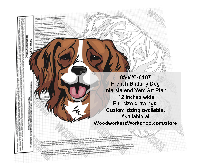 French Brittany Dog Intarsia or Yard Art Woodworking Plan