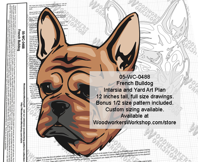 French Bulldog Intarsia or Yard Art Woodworking Plan