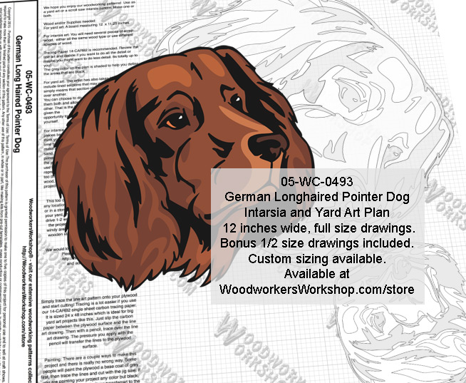 German Longhaired Pointer Dog Intarsia or Yard Art Woodworking Plan