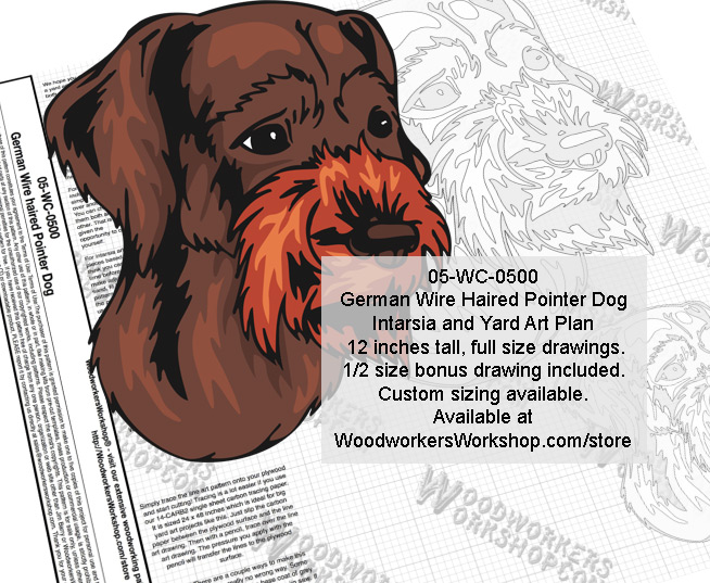 German Wire Haired Pointer Dog Intarsia and Yard Art Scrollsaw Pattern
