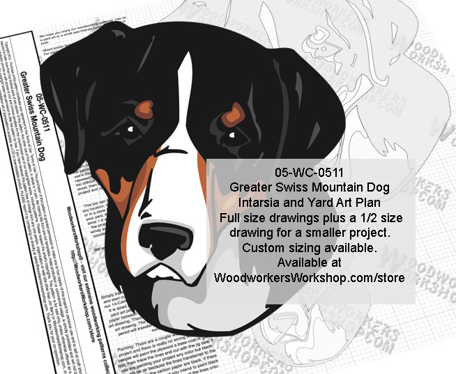 Greater Swiss Mountain Dog Intarsia and Yard Art Drawing