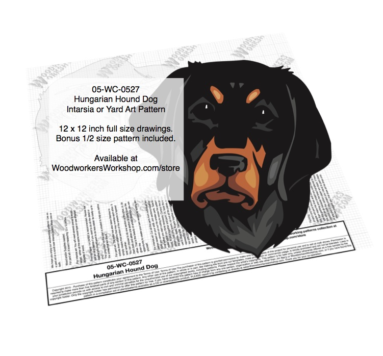 Hungarian Hound Intarsia or Yard Art Woodworking Pattern
