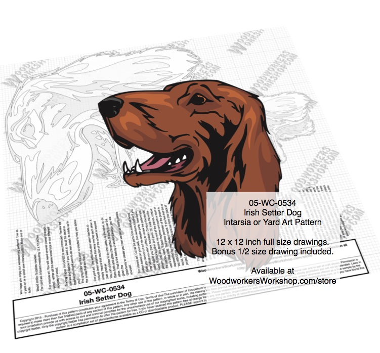 Irish Setter Dog Intarsia or Yard Art Woodworking Pattern