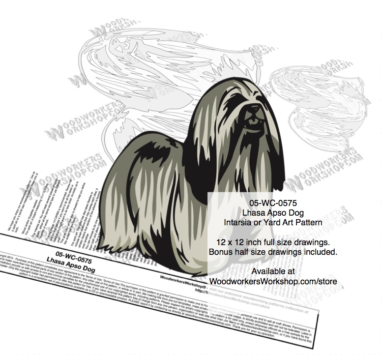 Lhasa Apso Dog Intarsia or Yard Art Woodworking Plan