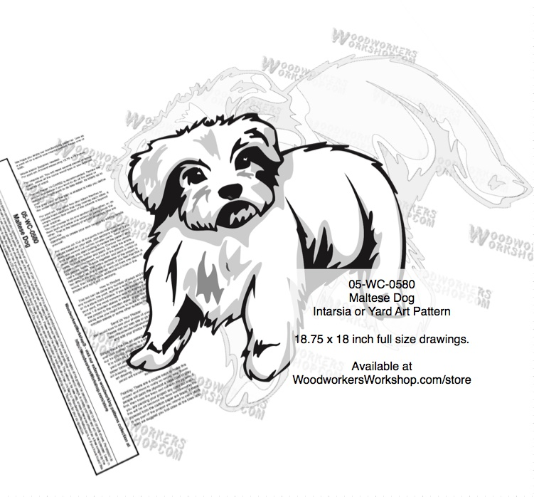 Maltese Dog Intarsia or Yard Art Woodworking Plan