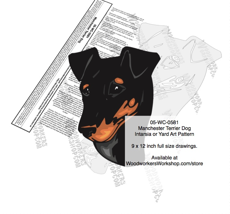 Manchester Terrier Dog Intarsia or Yard Art Woodworking Plan