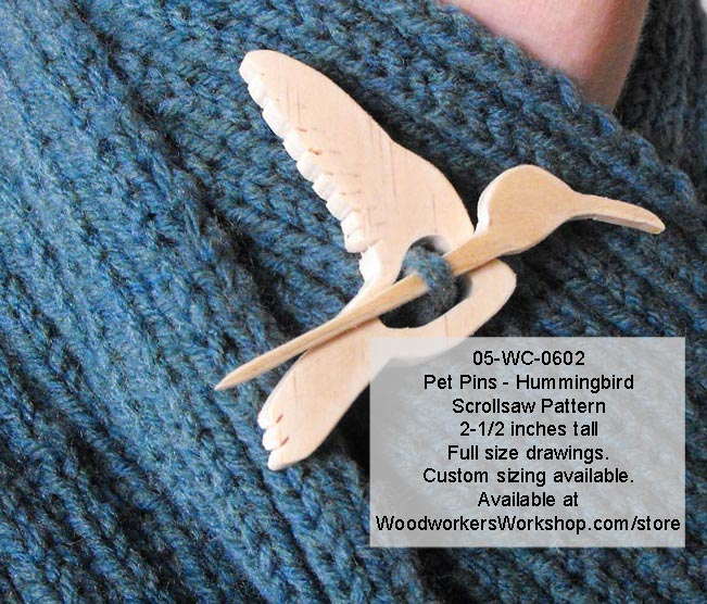 Hummingbird Pet Pins Woodworking Pattern