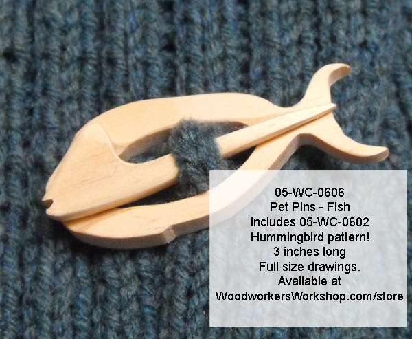 05-WC-0606 - Pet Pins - Fish with Bonus Hummingbird Scrollsaw Plan