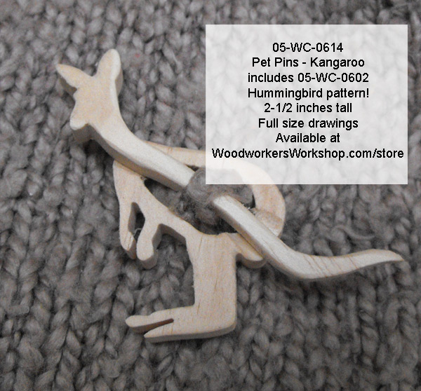 05-WC-0614 - Kangaroo Pet Pin Scrollsaw Woodworking Pattern PDF
