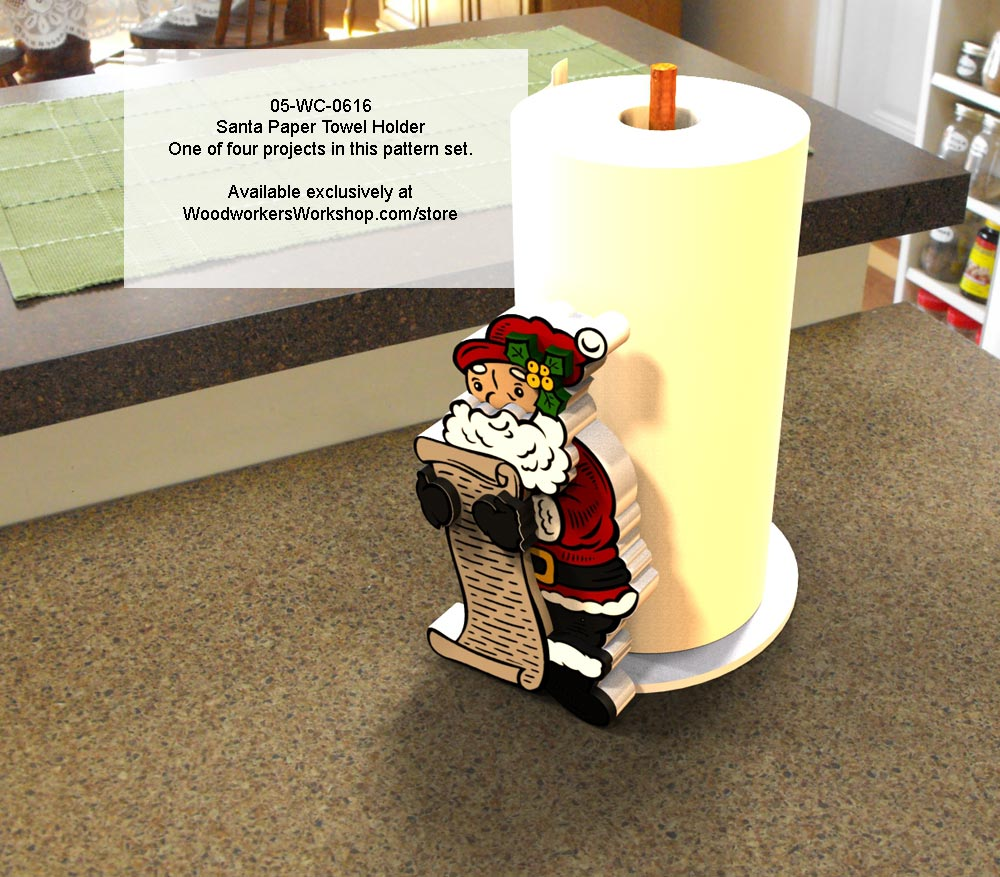 Santa and Elf Candy Cane Paper Towel Holder Scroll Woodworking Pattern.