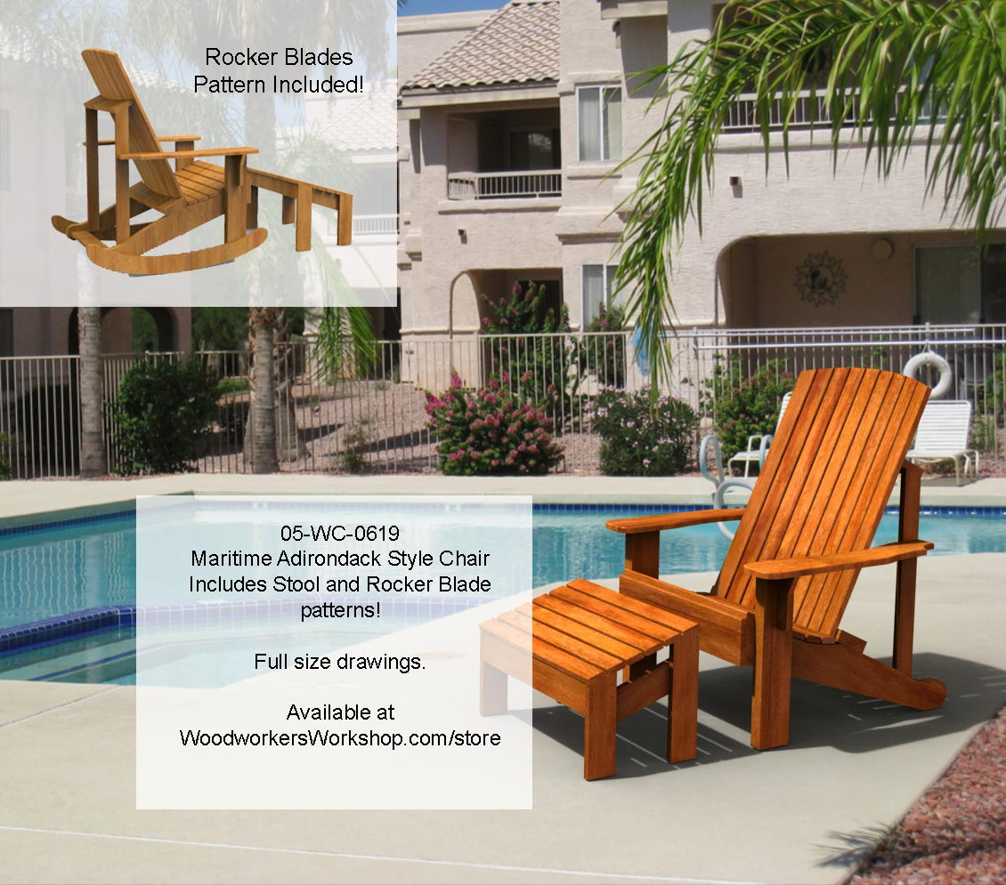 Maritime Adirondack Style Rocking Chair Yard Furniture Woodworking Pattern