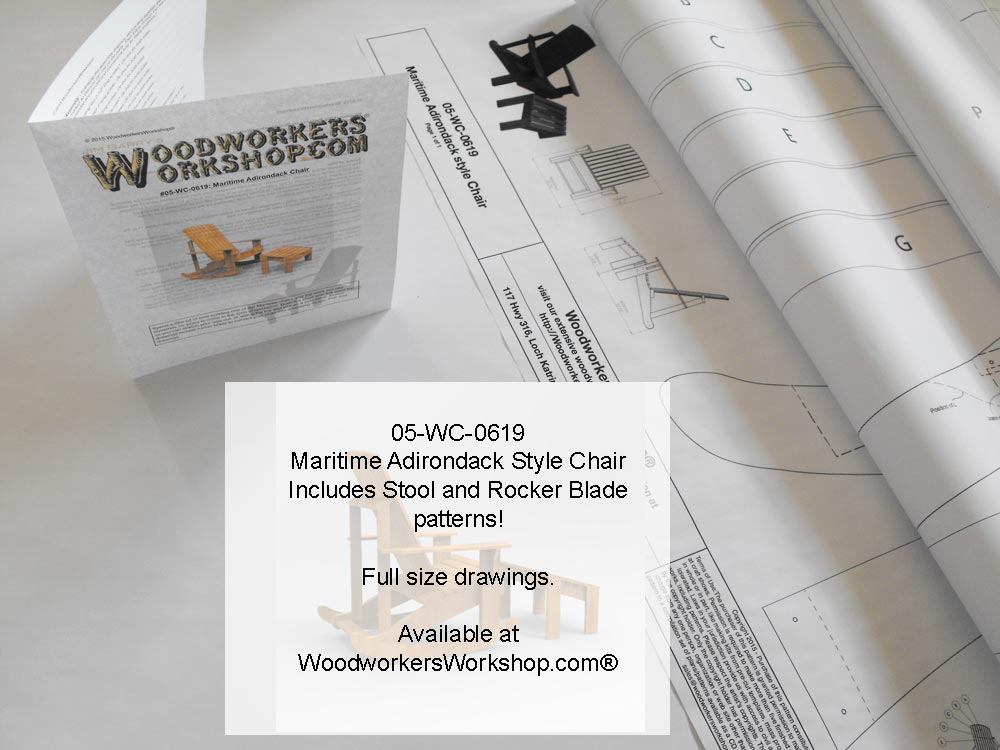 05-WC-0619E - Maritime Adirondack Style Rocking Chair Yard Furniture Woodworking Pattern