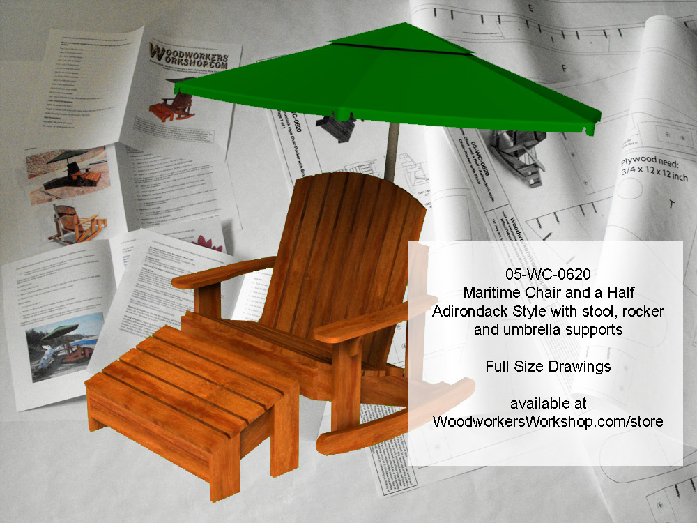 05-WC-0620E - Maritime Chair and a Half Adirondack Style Woodworking Plan