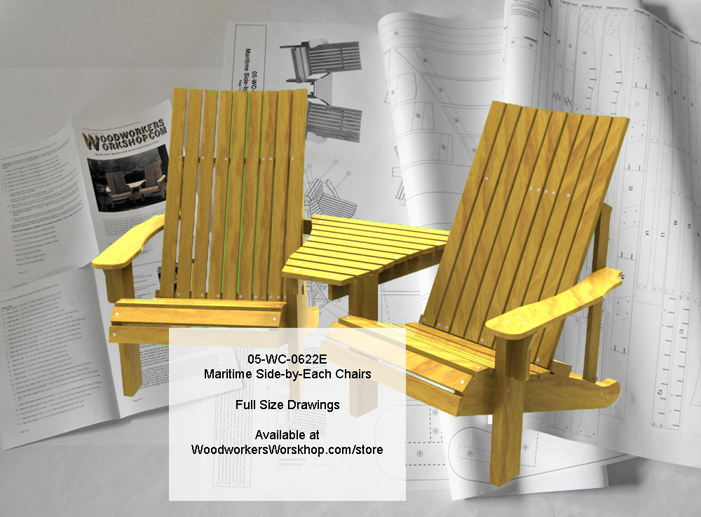 Maritime Side-by-Each Chairs Full Size Woodworking Plans woodworking plan