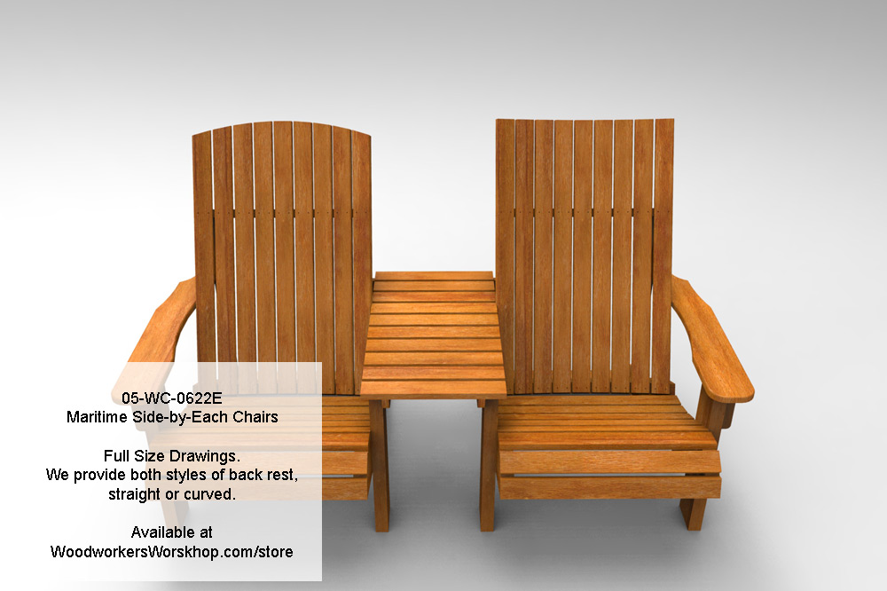 Maritime Side-by-Each Chairs Full Size Woodworking Plans