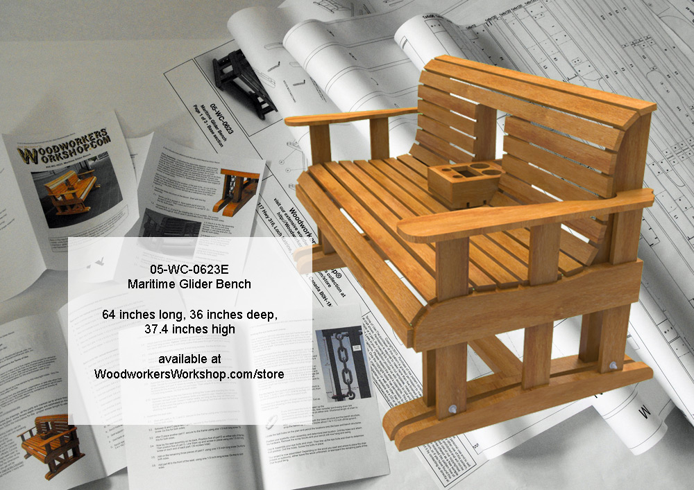 Maritime Glider Bench with Hideaway Console Tray - Full Size Woodworking Pattern. woodworking plan