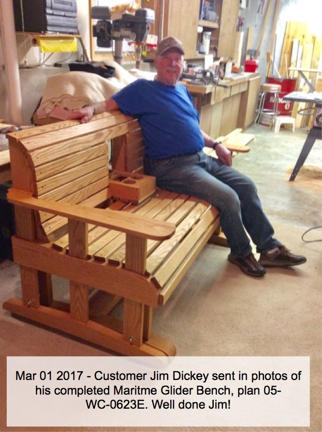 05-WC-0623E - Maritime Glider Bench with Hideaway Console Tray - Full Size Woodworking Pattern.