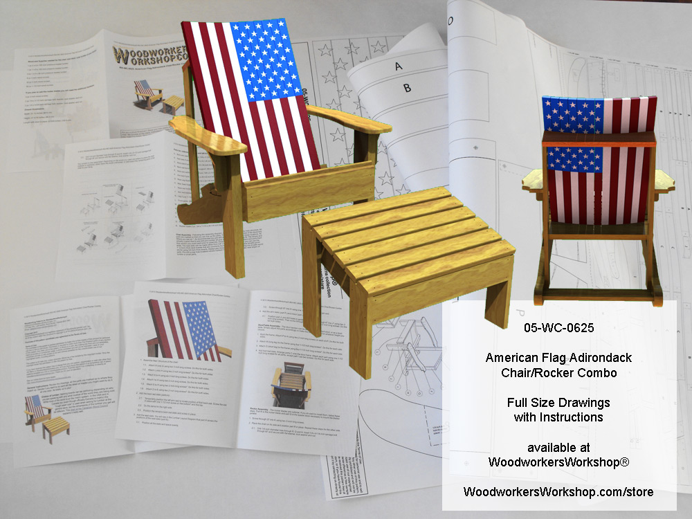 05-WC-0625E - American Flag Adirondack Chair/Rocker Combo Woodworking Plan