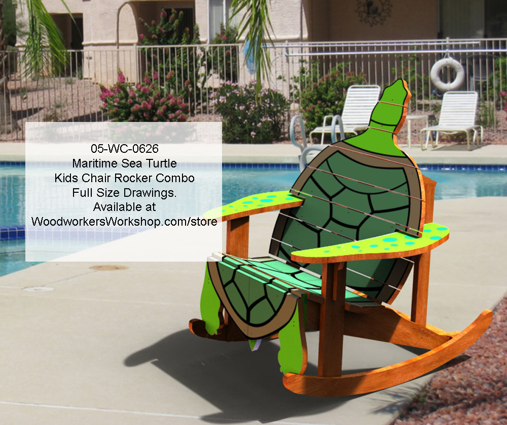 05-WC-0626E - Maritimes Sea Turtle Kids Chair Rocker Combo Woodworking Plan
