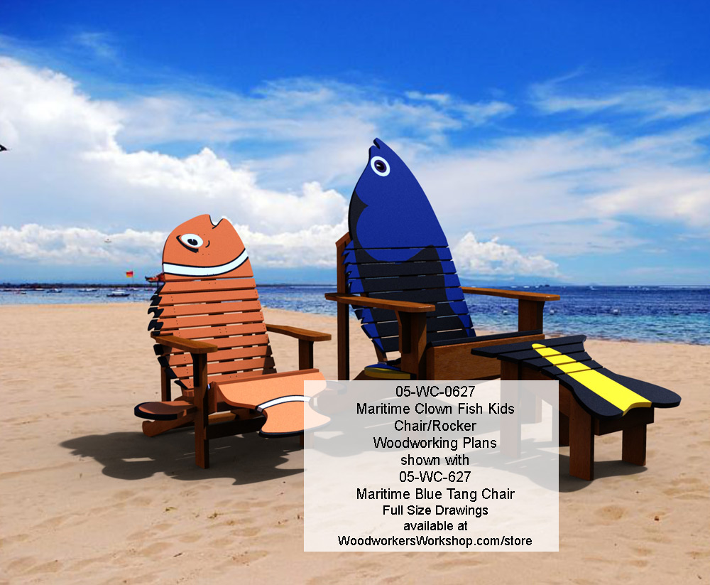Maritime Clown Fish Kids Chair and Rocker Woodworking Plan woodworking plan