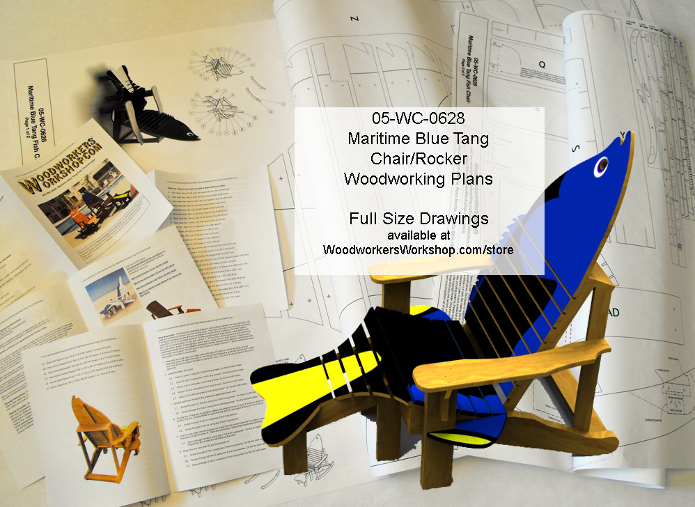 05-WC-0628 - Maritime Blue Tang Chair and Rocker Woodworking Plan.