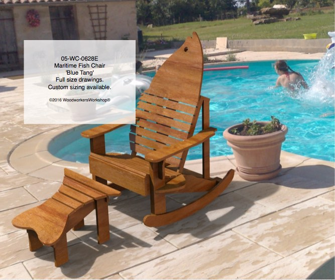 Maritime Blue Tang Chair and Rocker Woodworking Plan.