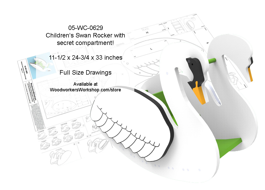 05-WC-0629E - Childrens Swan Rocker with secret compartment Woodworking Plans.