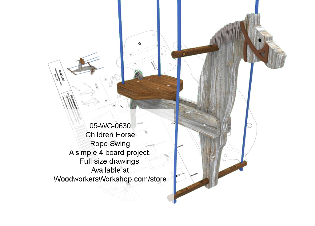 05-WC-0630E - Childrens Horse Rope Swing Woodworking Plan.
