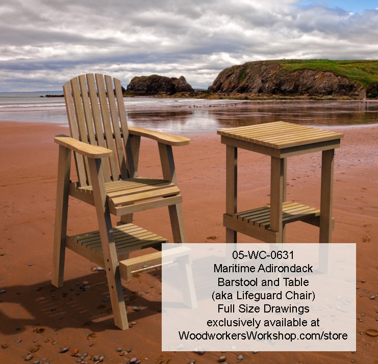 05-WC-0631E - Maritime Bar Stool and Table Combo Full Size Woodworking Plans.