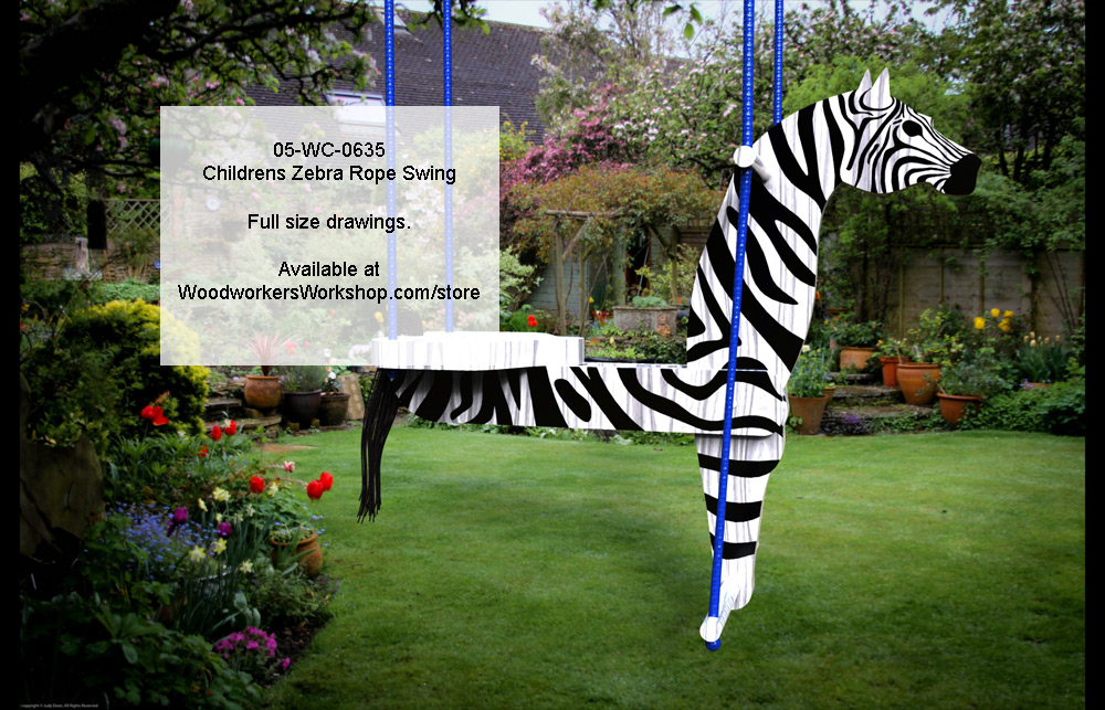 05-WC-0635 - Childrens Zebra Rope Swing Full Size Woodworking Plans